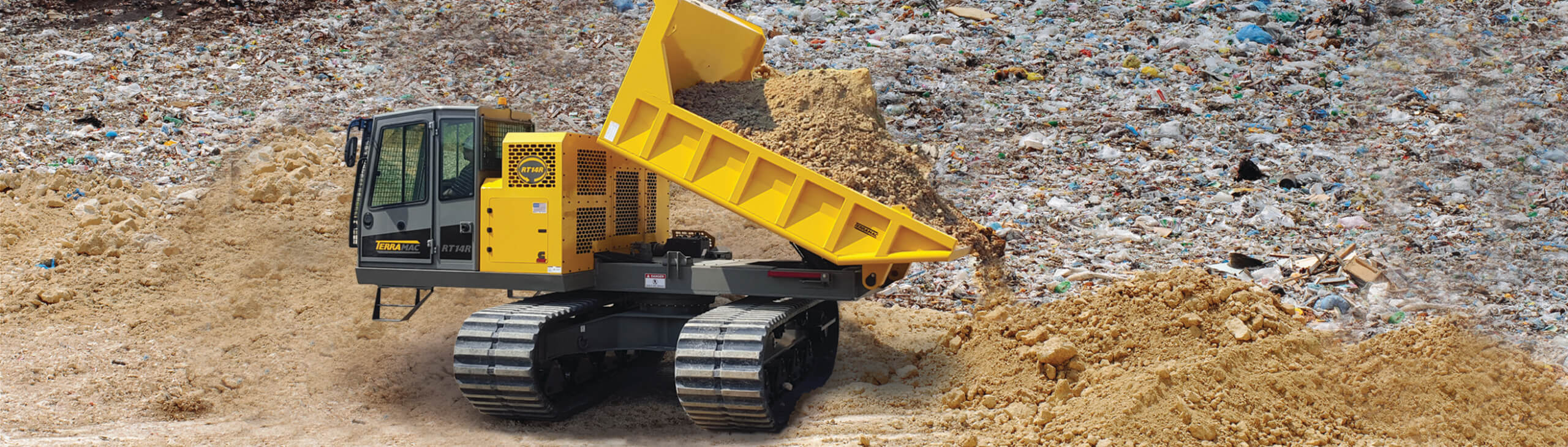landfill management applications RT14R crawler carrier in a landfill